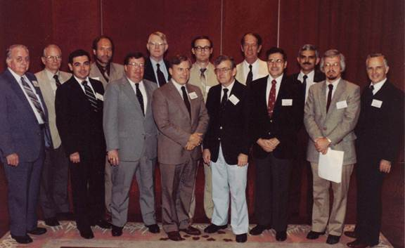 Past and Future Presidents at SMA's 20th Annual Meeting (1982) L-R: James M. Todd, Leon C. Megginson, Arthur G. Bedeian, Jay R. Knippen, John E. Logan, William M. Fox, Vince P. Luchsinger, Jr., William H. Holley, Jr., John F. DeVogt, Odgen H. Hall, Max B. Jones, Achilles A. Armenakis, W. Jack Duncan, Dennis F. Ray