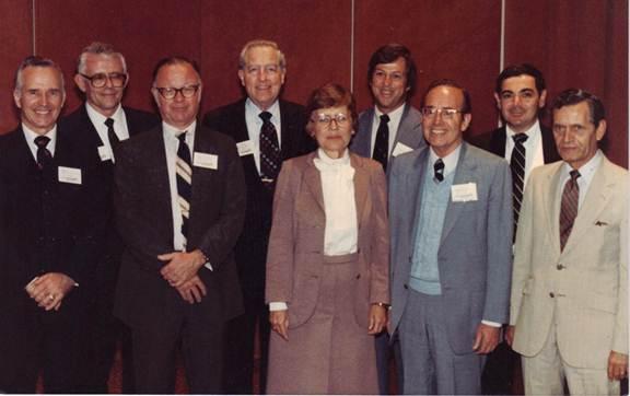 Academy of Management Presidents at SMA's 20th Annual Meeting (1982) L-R: Dennis F. Ray (SMA Past President), Max S. Wortman, John B. Miner, Dalton E. McFarland, Rosemary Pledger, John W. Slocum, Jr. (Academy President-elect), Keith Davis, Arthur G. Bedeian (SMA President-elect), Max D. Richards